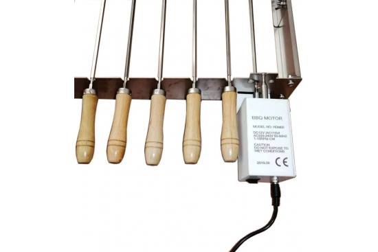 Sistem mecanism de rotiserie pentru 11 frigarui