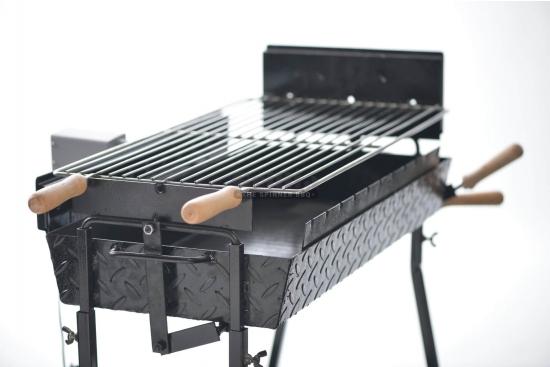 Gratar cu manere din lemn, otel inoxidabil, compatibil cu BBQ GRL-M11R3L
