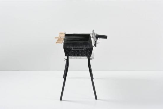Gratar carbune, BBQ standard, 11 frigarui, rotiserie automata, 80cm