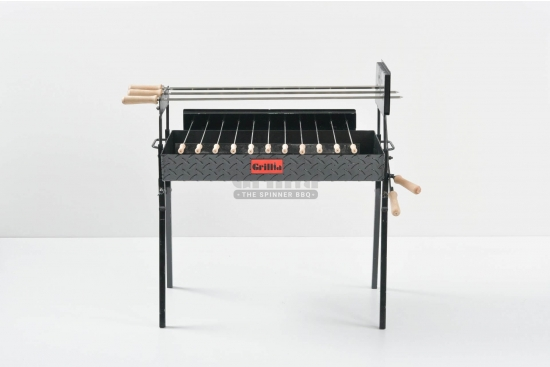 Gratar carbune, BBQ mare, 3 rotiserie in linie si 11 frigarui, 80cm