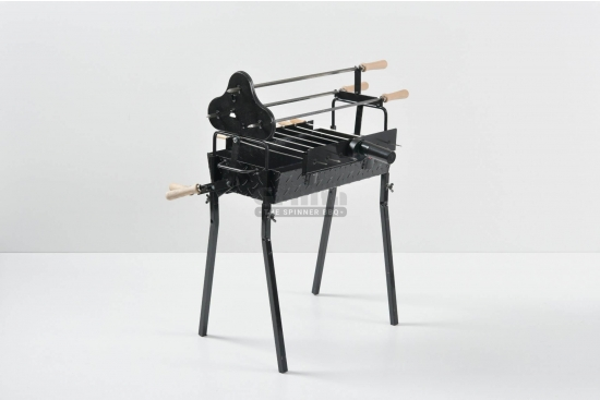Gratar carbune, BBQ mic, 3 rotiserie in triunghi si 7 frigarui, 58cm