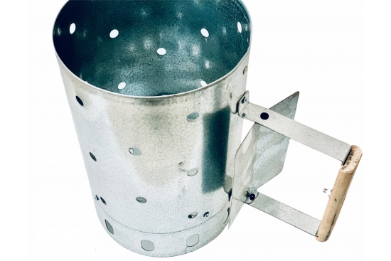 Aprinzator metalic carbuni, otel galvanizat, maner din lemn, forma cilindrica, aprindere usoara