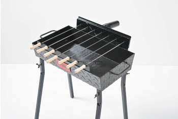 Gratar carbune, BBQ mic, 7 frigarui, rotiserie automata, 58cm
