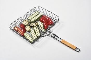 Gratar cos pentru carne si legume, otel, maner din lemn, compatibil cu toate modelele de BBQ
