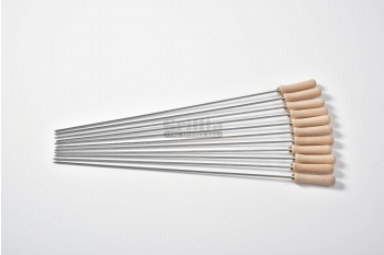 Tepusa din inox pentru frigarui, maner din lemn, compatibile cu BBQ GRL-M11R3L