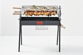 Gratar carbune, BBQ standard, 3 rotiserie in triunghi si 11 frigarui,  80cm